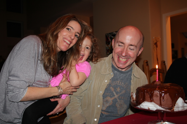 Three of us with the cake